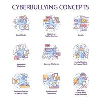 Cyberbullying concept icons set. Harassing people online idea thin line RGB color illustrations. Social media. Blocking cyber bully on SM platform. Vector isolated outline drawings. Editable stroke