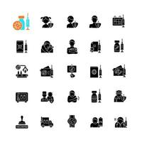 Vaccination and covid passport black glyph icons set on white space. Vaccine distribution. Virus treatment for age groups. Health care and medicine. Silhouette symbols. Vector isolated illustration
