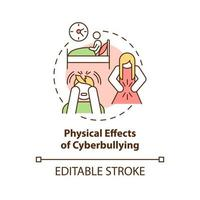 Physical cyberbullying effects concept icon. Negative consequences idea thin line illustration. Trouble sleeping. Stomachache, discomfort. Vector isolated outline RGB color drawing. Editable stroke