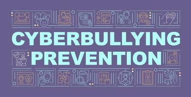 Cyberbullying prevention word concepts banner. Accounts security. Global awareness. Infographics with linear icons on purple background. Isolated typography. Vector outline RGB color illustration
