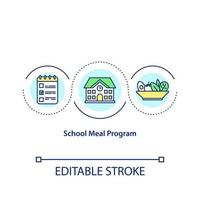 School meal program concept icon. Natural food ingredients usage. Healthy lunch for students idea thin line illustration. Vector isolated outline RGB color drawing. Editable stroke