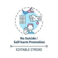 ningún icono de concepto de promoción de suicidio y autolesión. Ilustración de línea fina de idea de seguridad de redes sociales. Reducir el contenido en línea que defiende los daños. vector contorno aislado dibujo a color rgb. trazo editable