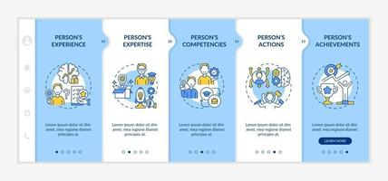 Personal brand components onboarding vector template. Responsive mobile website with icons. Web page walkthrough 5 step screens. Influence goals color concept with linear illustrations