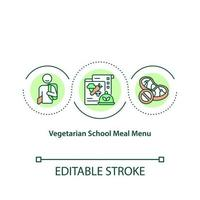 Vegetarian school meal menu concept icon. Cooking food from organic vegetables and fruits. Healthy foods idea thin line illustration. Vector isolated outline RGB color drawing. Editable stroke