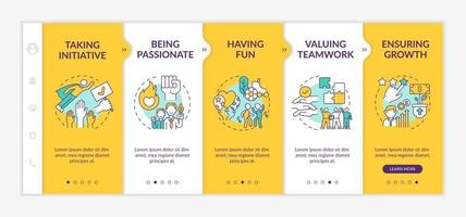 Basic organizational core values onboarding vector template. Responsive mobile website with icons. Web page walkthrough 5 step screens. Having fun, passion color concept with linear illustrations