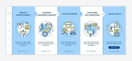 Personal brand rules onboarding vector template. Responsive mobile website with icons. Web page walkthrough 5 step screens. Building authority color concept with linear illustrations