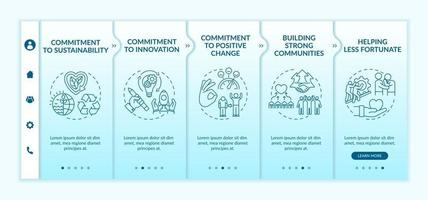 Organizational core values onboarding vector template. Responsive mobile website with icons. Web page walkthrough 5 step screens. Commitment to positive change color concept with linear illustrations