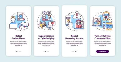 Cyberbullying prevention steps onboarding mobile app page screen with concepts. Detection, report walkthrough 4 steps graphic instructions. UI, UX, GUI vector template with linear color illustrations