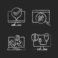 Iconos de tiza blanca de diagnóstico informático en fondo negro. mantenimiento de portátiles. búsqueda de virus. desconexión del cable USB. soporte técnico, servicio de reparación. ilustraciones de pizarra vector aislado