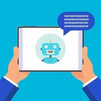 Hands holding black tablet device isolated on blue background Pad tablet in human hands chat bot icon and popped chat bubble above flat design vector illustration Pointer finger touch the screen