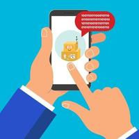Hand holding black mobile phone chat bot 1 icon on the screen pointer finger touch screen isolated on background vector