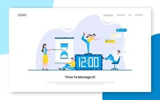 Business time management internet landing page concept with people characters working together vector