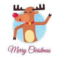 el reno navideño de nariz roja bailando y desea feliz navidad vector