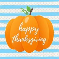 Happy thanksgiving day flat style design poster vector illustration with big pumpkin, text and autumn leaves. Celebrate the holidays