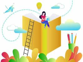 Education concept of online tutorial training courses, web education or video courses flat style design vector illustration. Student studying with online tutorials, books and devices isolated on white