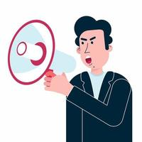Man hold megaphone in his hand shouting in loud speaker vector