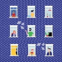 Various people in their windows behind brick wall characters flat style vector illustration. Neighbors as is that living in  apartments and do their deeds near windowsill seamless pattern
