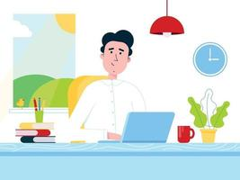 Freelance male in white shirt working on a laptop computer at the home office. Man, notebook, table, books, pen, pencil, lamp, cup of coffee, window, clock flat style vector illustration isolated.