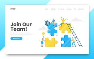 Business internet landing page concept template. Creative business people with big jigsaw puzzle pieces. vector