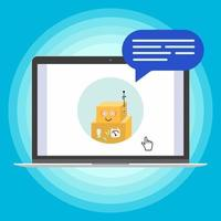 Modern device - laptop, notebook, netbook pc flat design with chat bot speak in the bubble popped on screen icon vector illustration. Technology concept of online chatting isolated on blue background