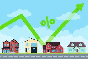 House price like arrow growth in the air for many. Good investment concept or big money price for buying new home. Various buildings set and arrow jumps up banner flat style vector illustration.