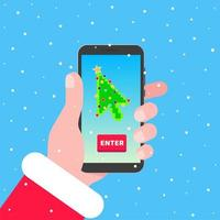 Santa holds phone with christmas tree cursor pointer arrow on the screen. Flat style design invitation to xmas or new year party event postcard vector illustration isolated on background.