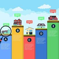 Houses infographic flat style design vector illustration. City infographic with grass and houses. Many places to live. Recomendation for selection. Real estate banner concept.
