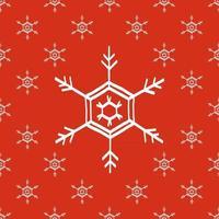 Seamless snowflake red white pattern version 1.3 vector illustration