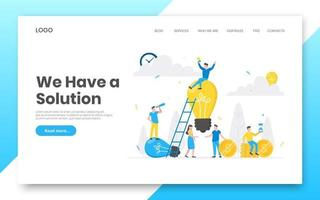 Business internet landing page concept template. Teamwork concept people characters working together vector