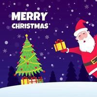 Santa Claus, christmas tree fir flat style design icon sign vector illustration greeting postcard.