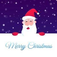 Santa Claus character wishes merry christmas and happy new year to you postcard vector