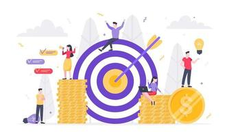 Tiny people characters working together with target, character people and money symbols. vector