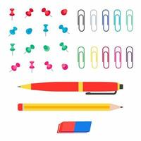 Office multi colored paper pins, paper clips, pen, pencil and eraser flat style vector illustration set isolated on white background. Tools for paperwork, education and business supplies