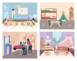 Childcare flat color vector illustration set