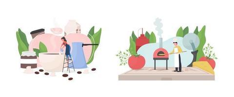 Popular work occupation flat concept vector illustration set