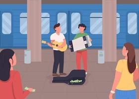 Underground music playing flat color vector illustration