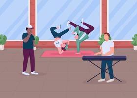 Modern hip hop music show flat color vector illustration