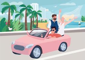 Newlywed riding car flat color vector illustration