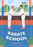plantilla de vector plano de cartel de escuela de karate