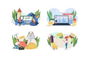 Popular jobs flat concept vector illustration set