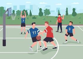 People playing basketball on street flat color vector illustration
