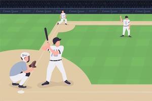 Baseball match flat color vector illustration
