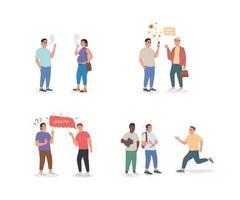 People with unhealthy habits flat color vector detailed character set