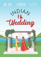 Indian wedding invitation flat vector template