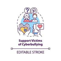 Supporting cyberbullying victims concept icon. Cyberbullying prevention idea thin line illustration. Boosting victim self-esteem, resilience. Vector isolated outline RGB color drawing. Editable stroke