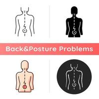 Lower back pain icon. Aging-related wear. Physical disability. Ruptured, bulging disc. Injury to connective tissue. Muscle weakness. Linear black and RGB color styles. Isolated vector illustrations