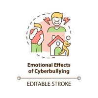 Emotional cyberbullying effects concept icon. Negative consequences idea thin line illustration. Embarrassment and overwhelming. Vector isolated outline RGB color drawing. Editable stroke