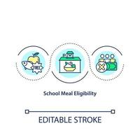 School meal eligibility concept icon. Healthy snacks for all school students. Healthy and organic meals idea thin line illustration. Vector isolated outline RGB color drawing. Editable stroke
