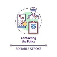 Contacting police concept icon. Report cyberbullying idea thin line illustration. Collecting evidence with threatening, offensive messages. Vector isolated outline RGB color drawing. Editable stroke