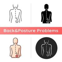 Lower right back pain icon. Sprains and strains. Muscle-related one-sided backache. Hip pain. Tenderness, swelling. Linear black and RGB color styles. Isolated vector illustrations